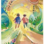 Greeting Card with two girls walking into the light